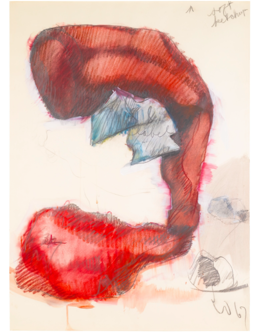 """CLAES OLDENBURG """"STUDY FOR A SOFT SCULPTURE IN THE FORM OF A GIANT KETCHUP BOTTLE"""". Utrop: 617 000 SEK. Sotheby's"""