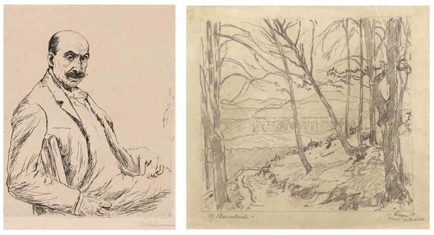Links: MAX LIEBERMANN (1847 Berlin 1935) - Selbstportrait, Original Radierung, signiert Rechts: MAX CLARENBACH (1880 Neuss-1952 Köln) - Landschaft - Schnee - Seitenlicht, Zeichnung, betitelt und signiert