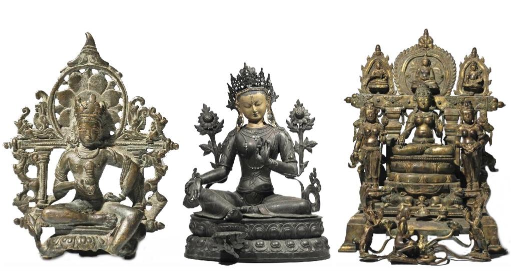 Links: Vajrasattva, Bronze, Kashmir 10.-11. Jh. Mitte: Grüne Tara, Bronze, Nepal/Tibet Ende 19. Jh. Rechts: Weiße Tara, Bronze, Indien, Madhya Pradesh, Sirpur, Stil des 8. Jhs.