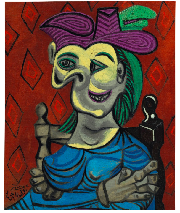 Pablo Picasso (1881-1973), Femme assise, robe bleue, Painted on 25 October 1939. Oil on canvas, 28¾ x 23⅝ in (73 x 60 cm). Estimate: $35 000 000-50 000 000. © Succession Picasso/DACS, London 2017