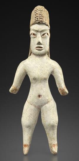 Femme au bonnet Terre cuite beige à pigments rouges Mexique, culture Olmèque , 800 - 200 avant JC Galerie Furstenberg