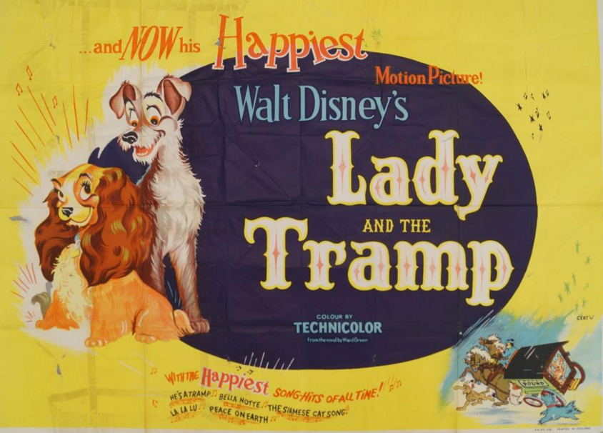Affiche de 'Lady and the Tramp', 1955; Walt Disney Roseberys