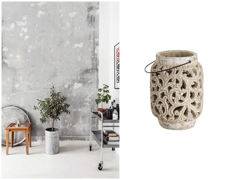 Left: Concrete walls. Photo via: italianbark.com. Right: Candle holder in concrete. Image via: Kamir.