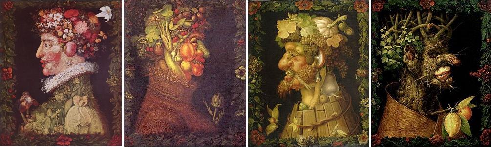 GIUSEPPE ARCIMBOLDO (um 1526 Mailand 1593) - Die Vier Jahreszeiten, 1573, Musée du Louvre Abb. via Wikipedia