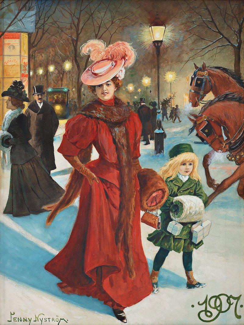 Akvarellen eleganta flanörer i juletid, signerad Jenny Nyström målades 1907 och kostade drygt 110 år senare 440 000 kronor när den klubbades på Bukowskis