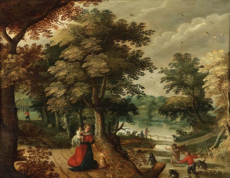 DAVID VINCKBOONS (1576 Mecheln - 1632 Amsterdam) attr. - Latona verwandelt die lycischen Bauern in Frösche, Öl/Holz