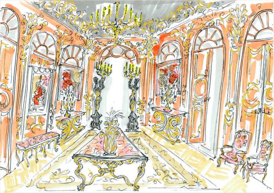 Dessin aqurellé réalisé par Vincent Darré pour la scénographie de l'exposition, image ©Artcurial