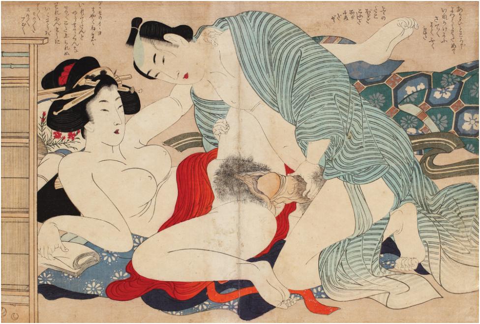 Katsushika Hokusai - Shunga med ett par i ett privat rum, Manpuku Wagojin-Serien (Gudarna av Sex), Nishiki-e tekniken med metallpigment , 25,5 x 37 cm, 1835. Utropspris: 8,300 SEK.