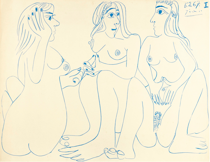 Pablo Picasso, Trois Nus Assis, signed Picasso and dated 5.2.67. I. Drawn on 5th February 1967 Image: Sotheby's