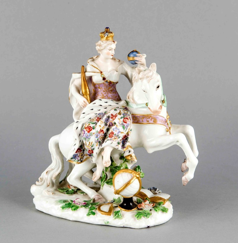 "Europe, prob. Meissen, 18th cent., After a model by Johann Joachim Kaendler 1745-46, from the series ''The Four Continents '', symbolizing the continent of Europe in the form of a female figure in ornate coat bearing a crown, scepter and orb, plus a white steed, globe and book. Modeled after the so-called. ""tsar commission"" of Catherine the Great, polychrome painted, gilded, H. 25 cm, the symbol of Europe with their imperial insignia is also an homage to the consignor. An almost identical copy exists in the Hermitage in St. Petersburg. Estimate: $900"