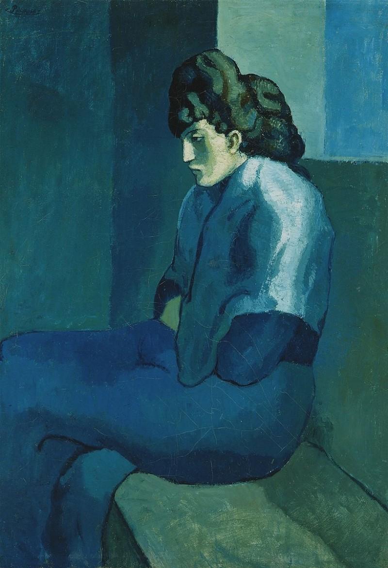 """""""Femme assise"""", 1902-03, från Picassos blå period. Foto: The Detroit Museum of Art."""