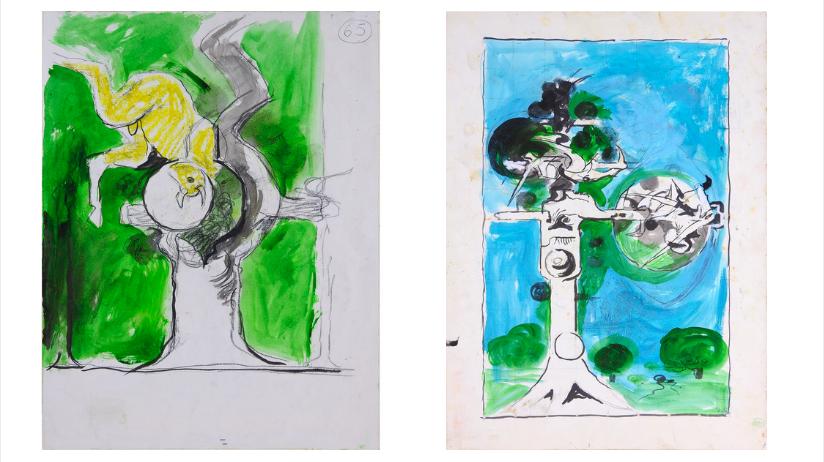 À gauche : Graham Sutherland (1903-1980), « Étude pour Le Boef », 1979, estimé entre 4 000 et 6 000 euros À droite : Graham Vivian Sutherland, (1903-1980), « Thorn Tree », 1978, estimé entre 6 000 et 8 000 euros.