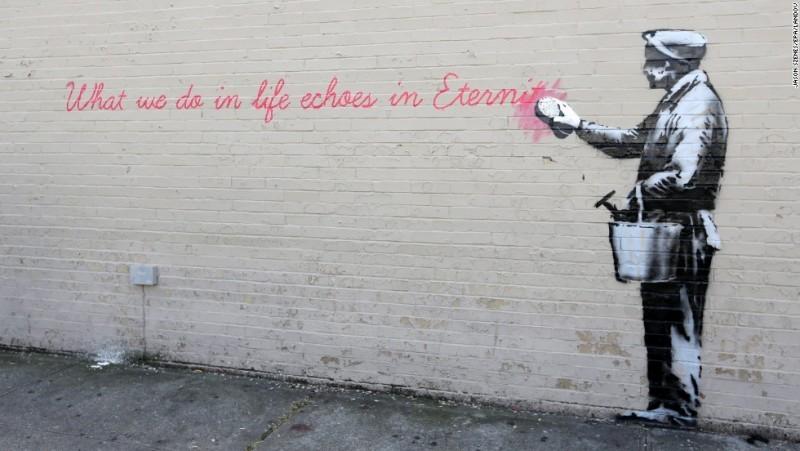 Eine Arbeit von Banksy in Queens, New York | Foto: CNN.com