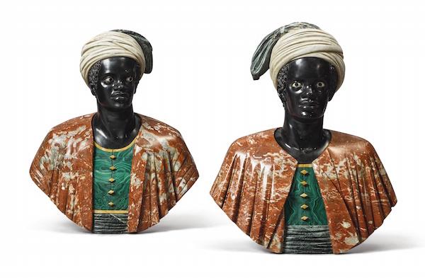 Bustos italianos de la década de 1800 en mármol y malaquita. Precio estimado: 13.400 €