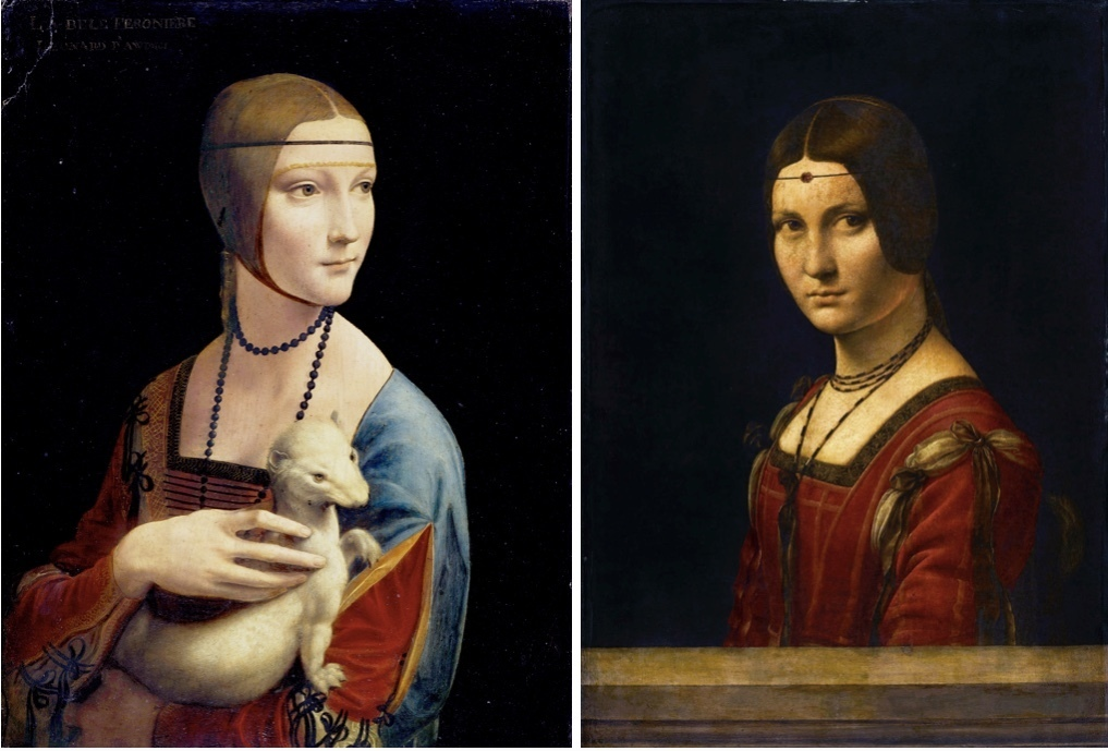To the left: The lady with Hermelin, oil, and tempera on a wooden pan, about 1483-1490. To the right: La Belle Ferronnière, oil on wood paneling, about 1490-1496. Picture: barnebys.de