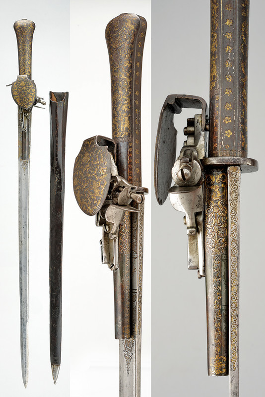 Rare hunting sword, with a stone lock gun, Russia (Tula?), 3rd quarter of the 18th century