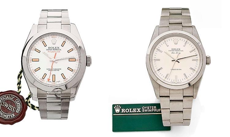 Links: ROLEX Oyster Perpetual Milgauss, Ref. 116400, um 2007 Rechts: ROLEX Oyster Perpetual Air King, Ref. 14000, um 1990