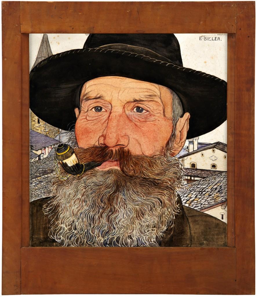 """ERNEST BIÉLER (1863 Rolle - 1948 Lausanne) - """"L'Homme à la pipe"""", Aquarell/Papier/Karton, signiert, um 1915"""