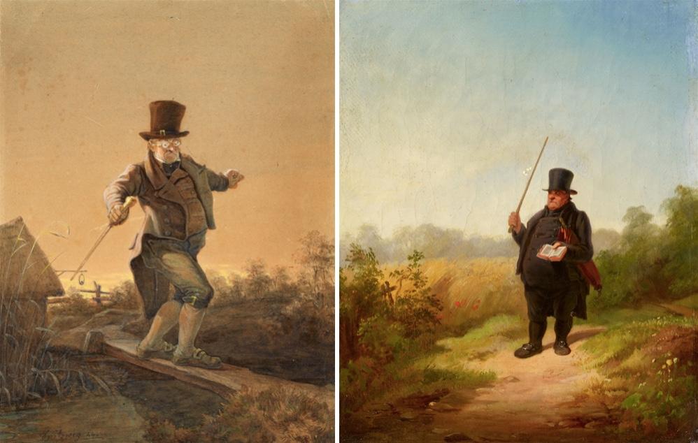 CARL SPITZWEG (1808 München 1885) Links: Gefährliche Passage, Aquarell über Bleistift/Papier, signiert und datiert, 1844 Rechts: Gestörte Kontemplation, Öl/Lwd.