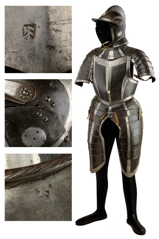 Black and white armor with Burgonet helmet, southern Germany, last quarter 16th century