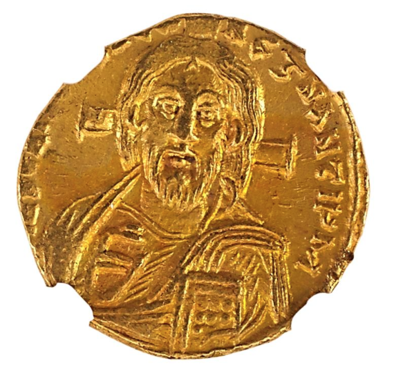 ANCIENT BYZANTINE AV SOLIDUS COIN. Low estimate 4 000 USD.