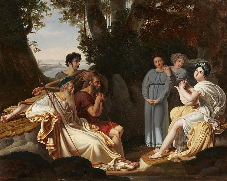 CHARLES NICOLAS LAFOND (1774 Paris 1835) - Sappho singt vor Homer, signiert und datiert, 1824