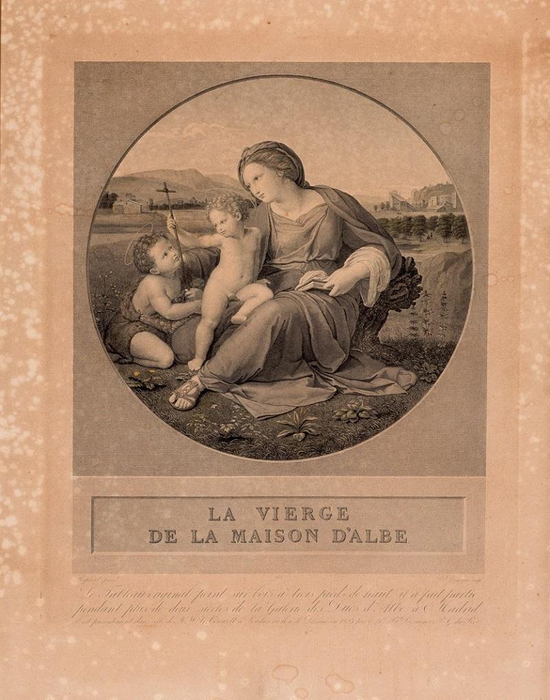 """B. DESNOYERS. """"La Virgen de la casa de Alba"""". Grabado. Diseño de Rafael"""