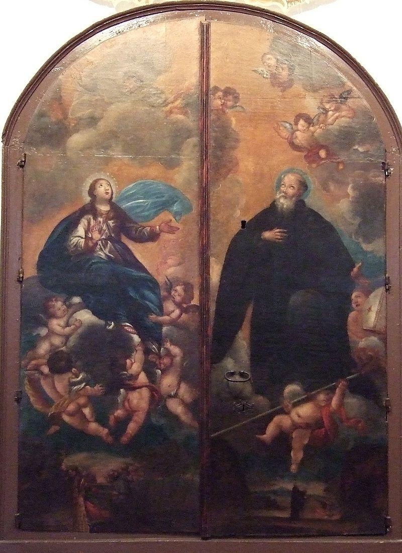 Atribuido a FRANCISCO DE GOYA. Asunción de la Virgen y San Íñigo. Iglesia de San Juan el Real. Calatayud