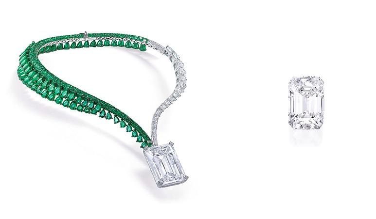 Links: Dieses Collier ziert der aktuell teuerste weiße Diamant (Foto) Rechts: So große wie eine Walnuss ist dieser Diamant (Foto: Sotheby's)