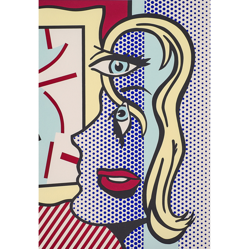 """Roy Lichtenstein - Art Critic, 1996; Screenprint in colors on Somerset (framed); Signed, dated and numbered 80/150; 25"""" x 18 1/4"""" (sight). Est. $25,000 – 35,000"""