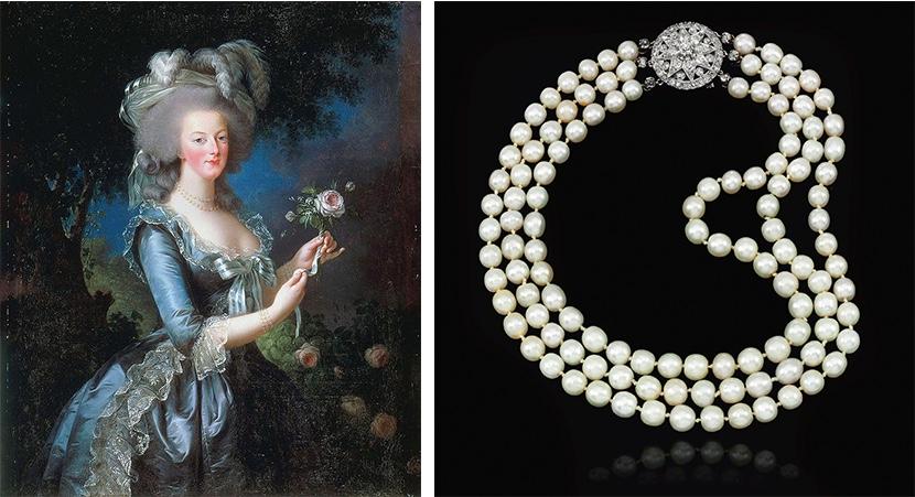 Links: Elisabeth-Louise Vigée-Lebrun, Marie Antoinette mit Rose, 1783 (Château de Versailles) Rechts: Collier mit Perlen aus dem Besitz Marie Antoinettes. Erzielter Preis: 2.295.000 CHF (Foto: ©Sotheby's)