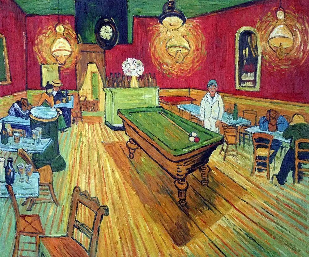Vincent van Gogh, Le Café de nuit, 1888, image via  OverstockArt
