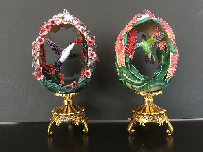 2 Fabergé-Eier aus der limitierten Jeweled Beauties of the Garden-Edition, 1988