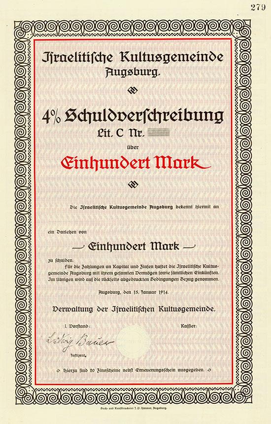 Israelitische Kultusgemeinde Augsburg - Augsburg, 15.01.1914, Blankett einer 4 % Schuldverschreibung Lit. C über 100 Mark, o. Nr. Ausruf: 2.200 EUR