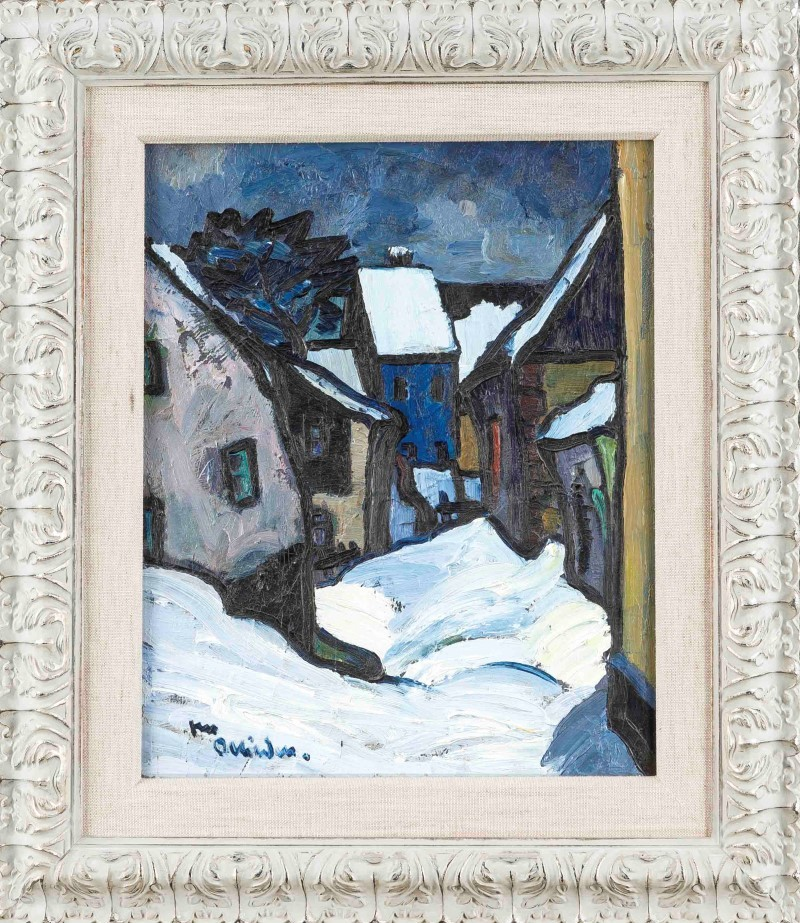 Unidentified Expressionist, early 20th c., snowy village at night, interesting composition with broad strokes and dark contours, oil on cardboard, signed in lower left corner, difficult to read, 50 x 40 cm, framed 73 x 63 cm. Estimate $1,500.
