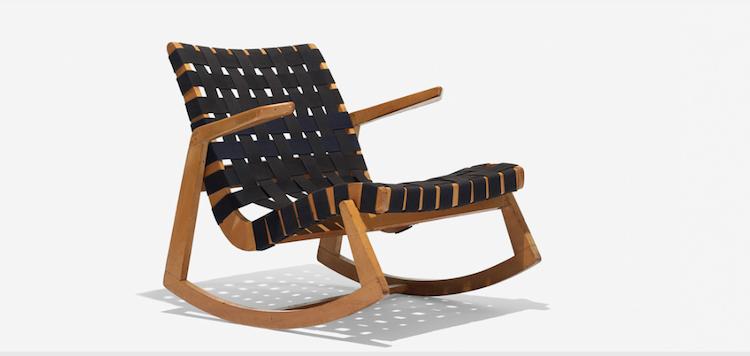 RALPH RAPSON. Rocking chair. H. G. Knoll & Associates, USA 1945. Low estimate $ 2.000