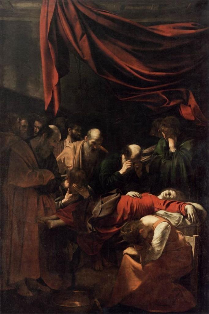 Caravage, La mort de la Vierge Marie, 1606, image via Wikipedia