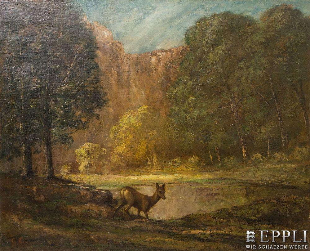 GUSTAVE COURBET - Abendliche Waldlandschaft mit kleinem See und rastendem Reh, 1873 Aufrufpreis: 160.000 EUR