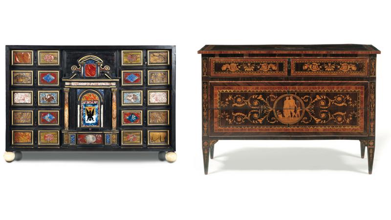 Links: Kabinettschrank aus Ebenholz mit Pietra dura-Platten, Florenz 18. Jh. Rechts: Paar klassizistische Kommoden mit Intarsien, letztes Viertel 18. Jh.
