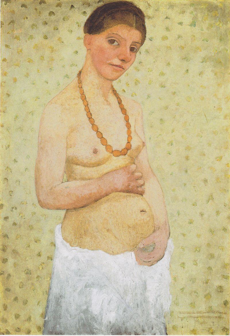 Paula Modersohn-Becker, Selbstbildnis zum 6. Hochzeitstag im Jahre 1906. Paula war die erste Künstlerin, die sich selber nackt malte