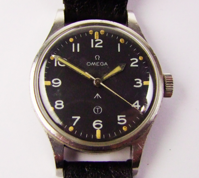 A gentleman's steel Omega military wristwatch, the black Tritium dial with arabic numerals, Calibre .283, Serial no 6645 101000 6B/542 1998/53, RAF 1953 issue