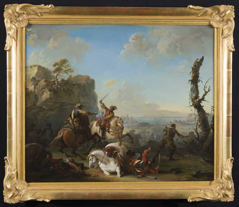 """En av de målningar som är till salu på utställningen """"Tre Sekler"""" hos Åmells är Johan Edvard Mandelberg (1731-86), Bataljscen. Målningen är signerad och daterad """"I: E: Mandelberg Paris 1754"""". Priset är 125 000 kronor"""