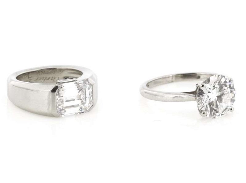 """Izquierda: CARTIER. Anillo """"Lia"""" en platino con diamante rectangular Derecha: ASPREY & GARRARD. Anillo en platino con diamantes"""