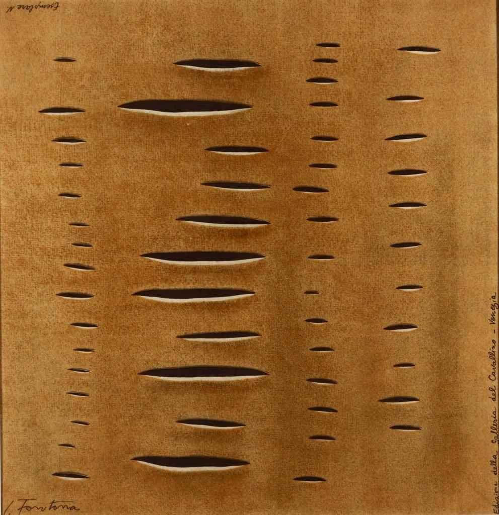 Lucio Fontana, foulard en soie, 79x79 cm, édition de la Galleria Il Cavallino, Venise