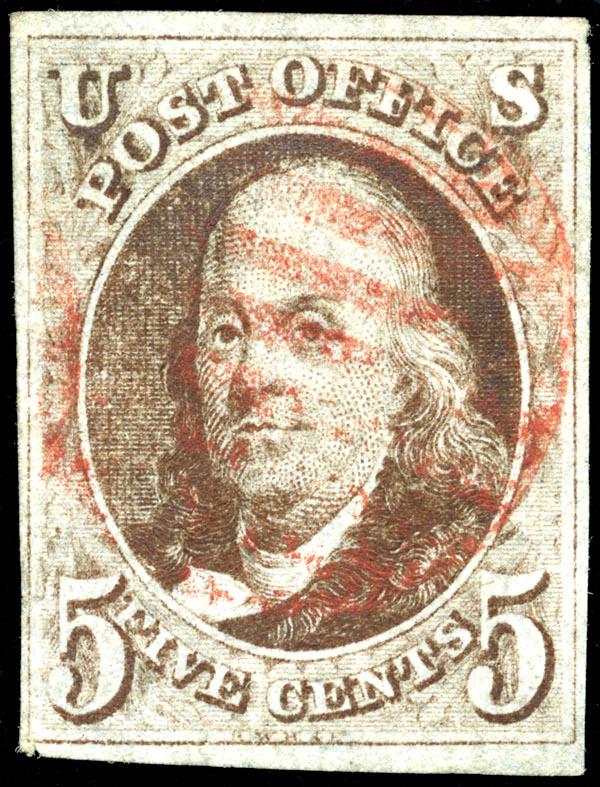 Le tout premier timbre américain, 1847 Image via Wikipedia
