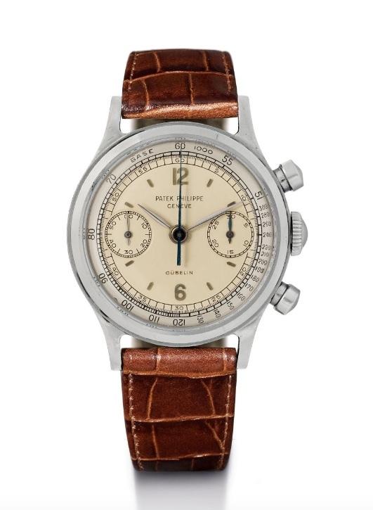 Patek Philippe, chronographe en acier extrêmement rare et avec deux cadrans, 1961 Estimation: 180.000-300.000 CHF