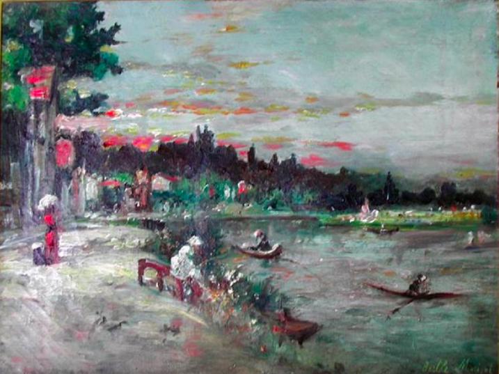 Berthe Morisot, « Souvenir au bord de l'Oise », 1863, image via Artnet