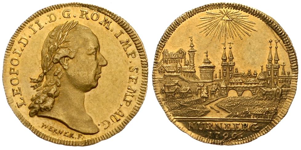 Nürnberg - Stadt-Dukat 1790, mit Titel und Brustbild Kaiser Leopolds II. Schätzpreis: 5.000 EUR