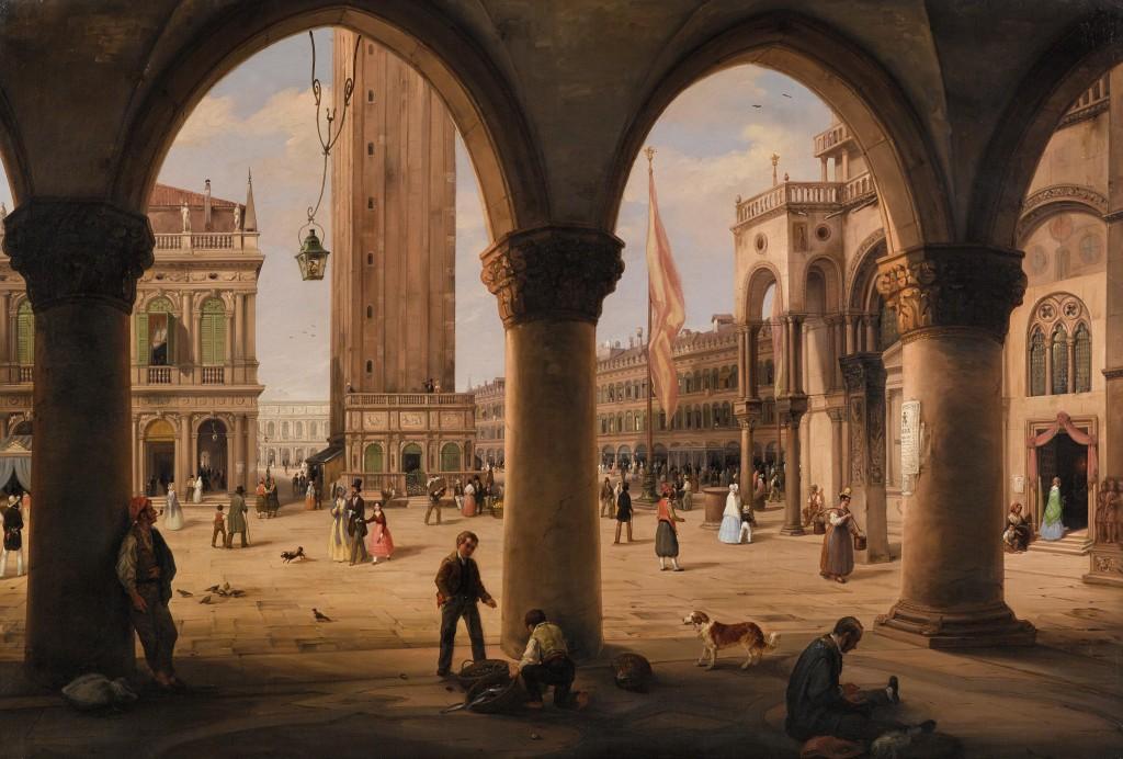 CARLO CANELLI (Verona 1800–1879 Mailand) - Blick vom Portico des Dogenpalastes in Venedig auf den Markusplatz und den Campanile, Öl/Lwd., 89 x 133,5 cm, signiert Schätzwert: 150.000-200.000 EUR