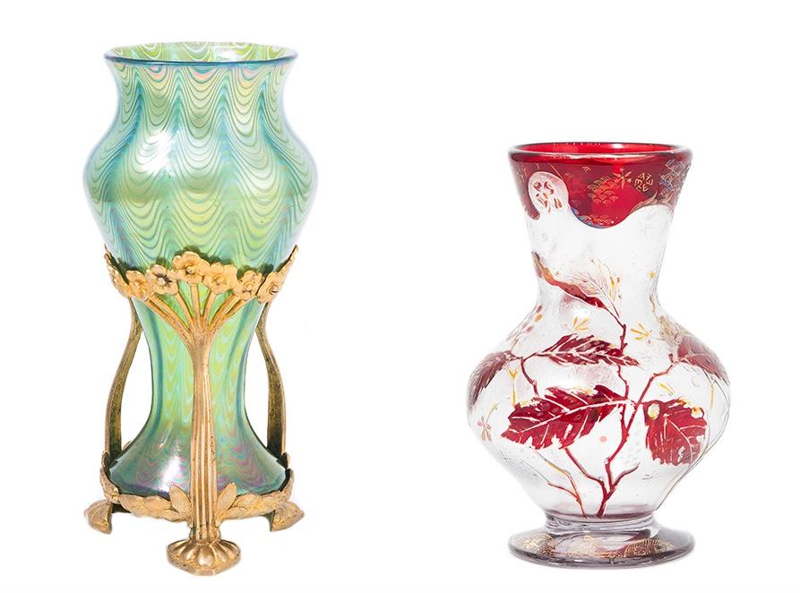 Links: LÖTZ WITWE - Vase Phänomen Gre 6893, Klostermühle um 1900 Rechts: VALLERYSTHAL - Vase, Trois Fontaines/Meurthe et Moselle um 1900